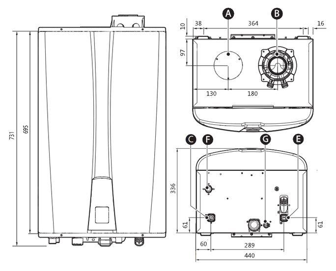 Габариты водонагревателя Navien NPE-32 SRC