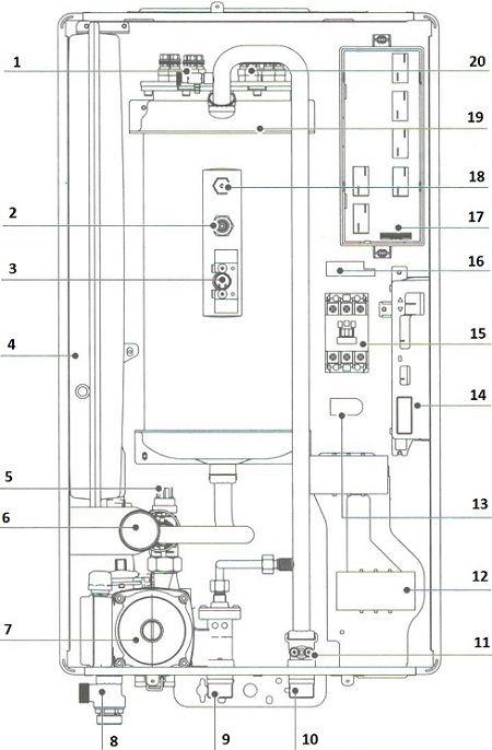 Схема устройства настенного электрического котла Navien